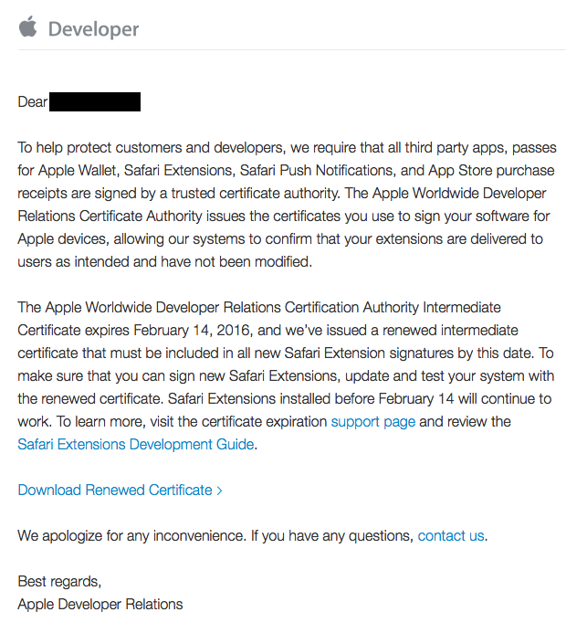 Safari Developer Certificate Renewal Email